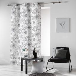 Rideau a oeillets 140 x 240 cm coton imprime mandala Gris
