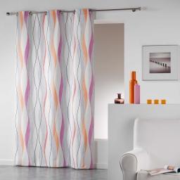Rideau a oeillets 140 x 240 cm coton imprime ondulys Orange