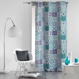 Rideau a oeillets 140 x 240 cm coton imprime persane Bleu