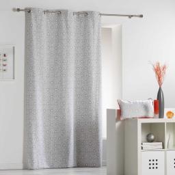 Rideau a oeillets 140 x 240 cm coton imprime tunis Gris