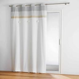rideau a oeillets 140 x 240 cm coton+top pompons iliade