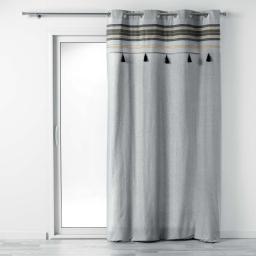 rideau a oeillets 140 x 240 cm coton uni+top imprime+pompons australine
