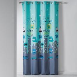 rideau a oeillets 140 x 240 cm microfibre imprimee petits monstres