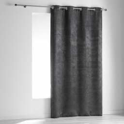 Rideau a oeillets 140 x 240 cm occultant velours frappe dreamtime Anthracite