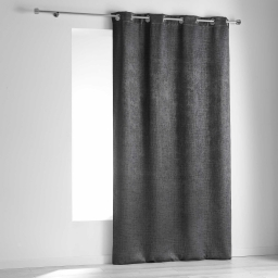 Rideau a oeillets 140 x 240 cm occultant velours frappe opacia Anthracite