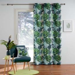 rideau a oeillets 140 x 250 cm coton imprime jungle green