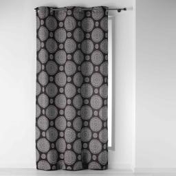 Rideau a oeillets 140 x 250 cm coton imprime rosa Anthracite