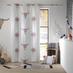 rideau a oeillets 140 x 250 cm coton imprime sweet tribal