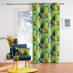 rideau a oeillets 140 x 250 cm coton imprime tiger