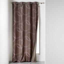Rideau a oeillets 140 x 260 cm isolant imprime norway Taupe