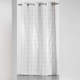 Rideau a oeillets 140 x 260 cm jacquard bicolore filio Blanc