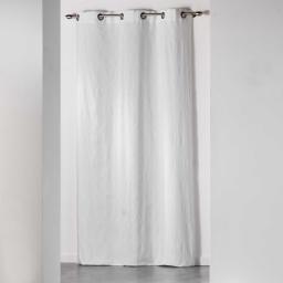 Rideau a oeillets 140 x 260 cm jacquard bicolore monalise Blanc
