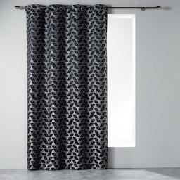 Rideau a oeillets 140 x 260 cm jacquard isometric Noir