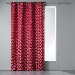 Rideau a oeillets 140 x 260 cm jacquard isometric Rouge