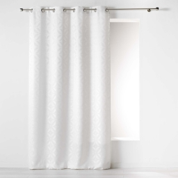 Rideau a oeillets 140 x 260 cm jacquard majestic Blanc