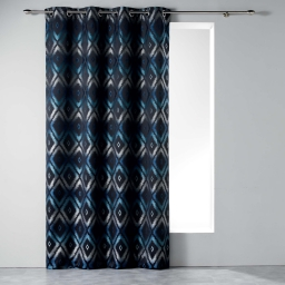 Rideau a oeillets 140 x 260 cm jacquard triomina Bleu