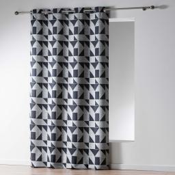 Rideau a oeillets 140 x 260 cm jacquard victoria Noir