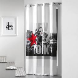 Rideau a oeillets 140 x 260 cm microfibre imprimee diva  des. place Blanc/Rouge