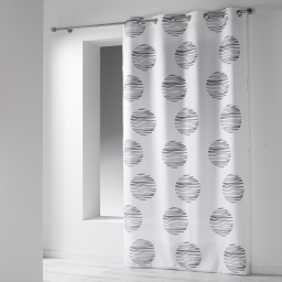 Rideau a oeillets 140 x 260 cm microfibre imprimee focus Blanc