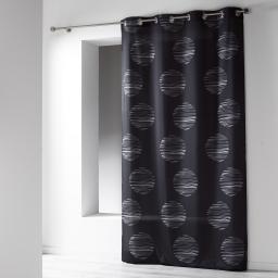 Rideau a oeillets 140 x 260 cm microfibre imprimee focus Noir