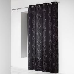 Rideau a oeillets 140 x 260 cm microfibre imprimee lierra Noir