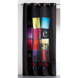 Rideau a oeillets 140 x 260 cm microfibre imprimee new city  des. place Noir