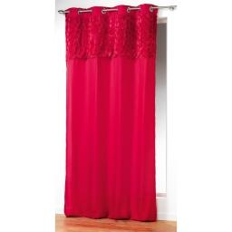 Rideau a oeillets 140 x 260 cm microfibre top imit. fourrure coeurs Rouge