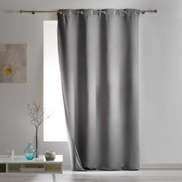 Rideau a oeillets 140 x 260 cm occultant isolant covery Gris