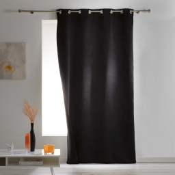 Rideau a oeillets 140 x 260 cm occultant isolant covery Noir