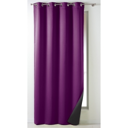 Rideau a oeillets 140 x 260 cm occultant isolant moony Prune