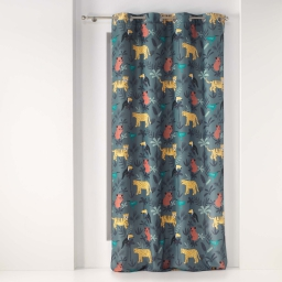 Rideau a oeillets 140 x 260 cm polyester imprime animaux and co Kaki