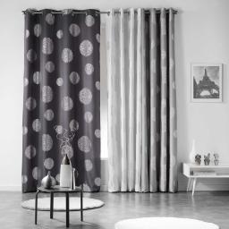 Rideau a oeillets 140 x 260 cm polyester imprime argent artifice Anthracite