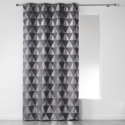 Rideau a oeillets 140 x 260 cm polyester imprime argent frosty Anthracite