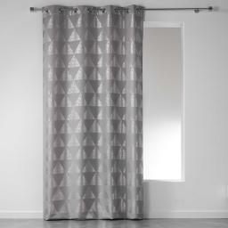 Rideau a oeillets 140 x 260 cm polyester imprime argent frosty Gris