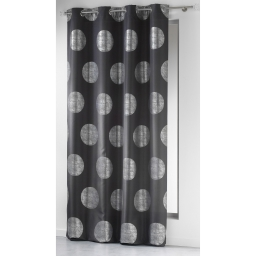 Rideau a oeillets 140 x 260 cm polyester imprime argent platine Anthracite