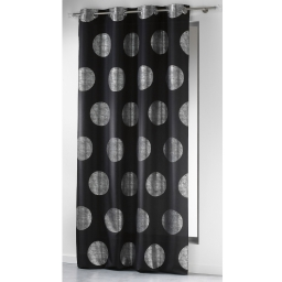 Rideau a oeillets 140 x 260 cm polyester imprime argent platine Noir