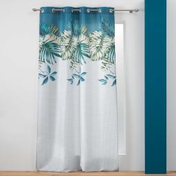 rideau a oeillets 140 x 260 cm polyester imprime belle feuille