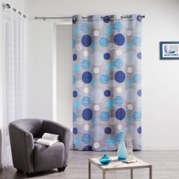 rideau a oeillets 140 x 260 cm polyester imprime blue bubbles
