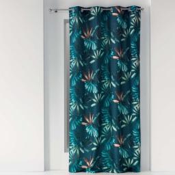 rideau a oeillets 140 x 260 cm polyester imprime blue garden