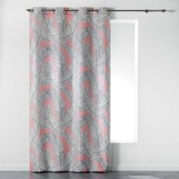 Rideau a oeillets 140 x 260 cm polyester imprime chic allure Corail