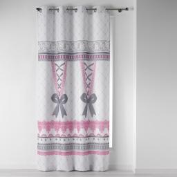 rideau a oeillets 140 x 260 cm polyester imprime corset