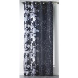 Rideau a oeillets 140 x 260 cm polyester imprime d/f automne Anthracite
