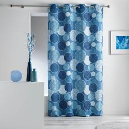 Rideau a oeillets 140 x 260 cm polyester imprime d/f bullea Blanc/Ciel