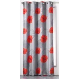 Rideau a oeillets 140 x 260 cm polyester imprime d/f castel Gris