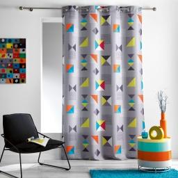 Rideau a oeillets 140 x 260 cm polyester imprime d/f geomix Gris