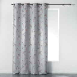 Rideau a oeillets 140 x 260 cm polyester imprime envolee chic Corail