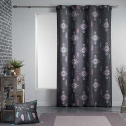 Rideau a oeillets 140 x 260 cm polyester imprime ete indien Anthracite