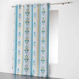 Rideau a oeillets 140 x 260 cm polyester imprime ethnie Blanc