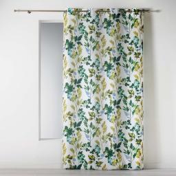 Rideau a oeillets 140 x 260 cm polyester imprime ficusia Blanc