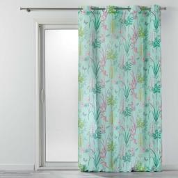 Rideau a oeillets 140 x 260 cm polyester imprime fresh garden Menthe